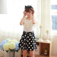 Porta - Set: Ruffle Cap-Sleeve Top + Polka Dot A-Line Skirt