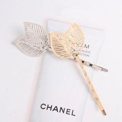 Seoul Young - Rhinestone Leaf-Accent Hair Pin