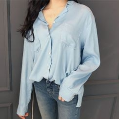 DANI LOVE - Dual-Pocket Slit-Hem Shirt
