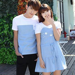 Igsoo - Couple Print T-Shirt / A-Line Dress