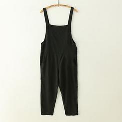 Meimei - Plain Linen-blend Strappy Pinafore Jumpsuit