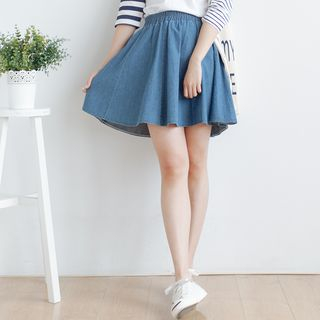 Forest Girl - Elasticized Denim Mini Skirt