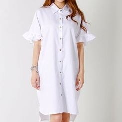 FASHION DIVA - Frilled Short-Sleeve H-Line Shirtdress