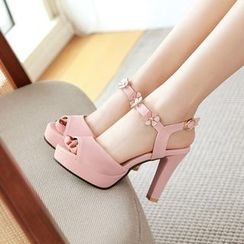 Shoes Galore - Flower Detail High Heel Platform Sandals