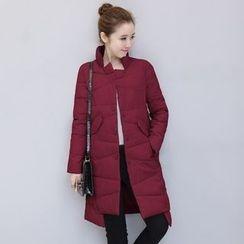 Crista - 純色夾棉飾扣外套