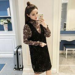 Sienne - Set: Floral Print Chiffon Dress + Crochet Pinafore Dress