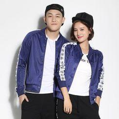 HappyTee - Contrast-Trim Couple Baseball Jacket