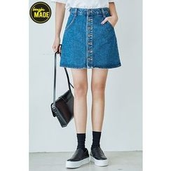 BONGJA SHOP - Buttoned Front Denim Skirt