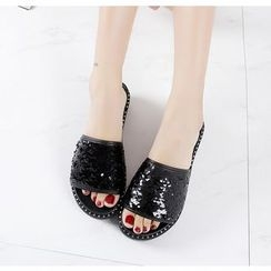 BAYO - Sequined Platform Slide Sandals