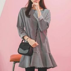 MayFair - Long-Sleeve Striped A-line Dress