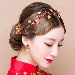 Suaylla - Bridal Set: Leaf Drop Earrings + Headband + Hair Clip