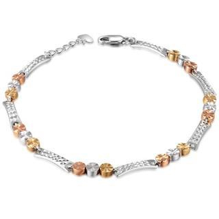 MaBelle - 14K Tri-Color Gold Diamond-Cut Triple Dots Segment Bracelet (6.5'')