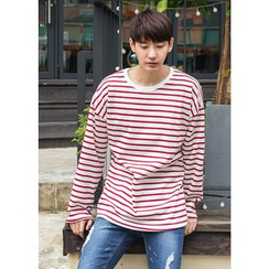 GERIO - Brushed Fleece Lined Stripe T-Shirt