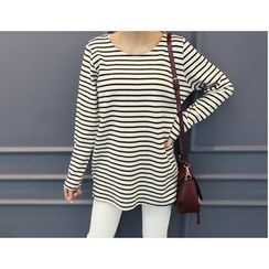 DANI LOVE - Round-Neck Stripe Cotton T-Shirt