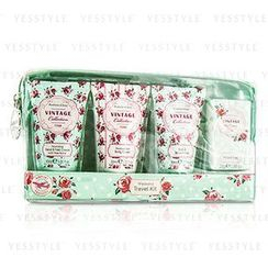 Heathcote & Ivory - Vintage Rose Weekend Travel Kit: Shower Gel 30ml/1.01oz + Body Cream 30ml/1.01oz + Hand Cream 30ml/1.01oz + Soap 25g