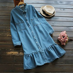 YOYO - Ruffle Denim Shirtdress