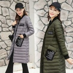 AiSun - Lettering Applique Long Padded Coat