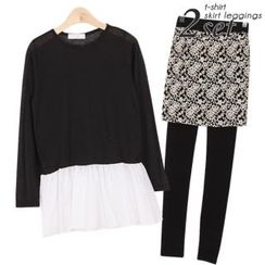 Ho Shop - Set: Frill-Hem T-Shirt + Inset Lace Skirt Leggings