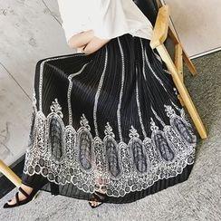 Jack Grace - Lace Print Chiffon Midi Skirt