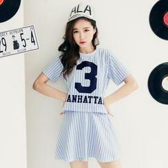 Tokyo Fashion - Set: Short-Sleeve Striped T-Shirt + A-Line Skirt