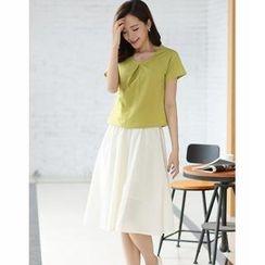TANGYIZI - Pleated Plain Top + Midi Skirt