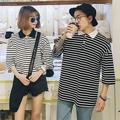 Evolu Fashion - Couple Matching Stripe Elbow-Sleeve Polo