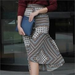 LIPHOP - Patterned Band-Waist Gathered Skirt
