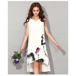 Dream a Dream - Ink Printed Dip Back Sleeveless Dress