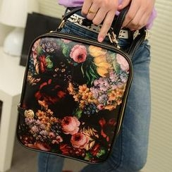 QeQ - Faux-Leather Floral Backpack