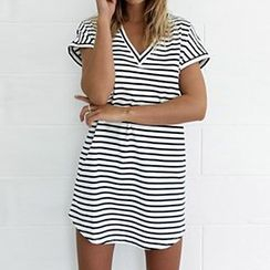 Rebecca - Stripe V-neck Short-Sleeve Dress