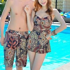 DJ Design - Couple Matching Printed Swimdress / Swim Shorts