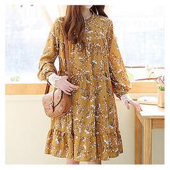 Sechuna - Mandarin-Collar Floral-Pattern Shift Dress