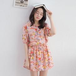 Tokyo Fashion - Short-Sleeve Printed Cutout-Back Dress