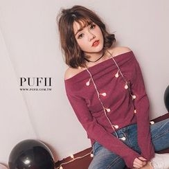 PUFII - Off-Shoulder Knit Top