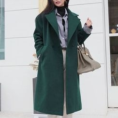 Seoul Fashion - Wide-Collar Double-Breasted Wool Blend Coat