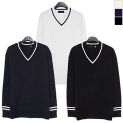 Seoul Homme - Contrasted-Trim V-Neck Knit Top