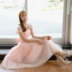Bridal Workshop - Short-Sleeve Tie-Waist Midi Prom Dress
