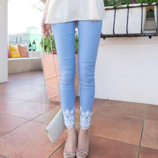 Tokyo Fashion - Lace-Hem Skinny Pants