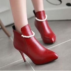 Tomma - 仿珍珠装饰尖头高跟踝靴