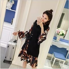 ever after - Set: Long-Sleeve Patterned A-line Dress + Sleeveless Slit Dress