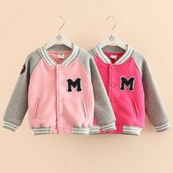 Seashells Kids - Kids Letter Applique Baseball Jacket