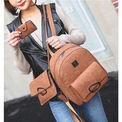 Merlain - 三件套: 仿皮背包 + 斜挎包 + 卡包