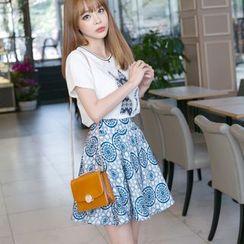 Emeline - Set: Short-Sleeve Print T-Shirt + Patterned Skirt
