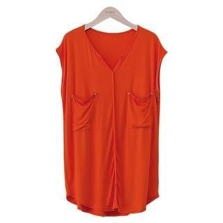 PEPER - Open-Placket Sleeveless Top