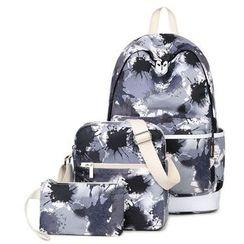 VIVA - Set of 3: Paint Splattered Backpack + Crossbody Bag + Pouch