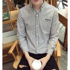 Zeesebon - Pinstripe Embroidered Long-Sleeve Shirt