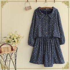 Fairyland - Set: Long Sleeved Floral Print Top + Skirt