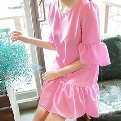 Only Eve - Short-Sleeve Ruffle Chiffon Dress