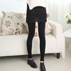 nooyi - Inset Lace Skirt Leggings