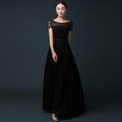 Royal Style - Lace Cap-Sleeve A-Line Evening Gown